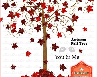 Instant Downloads, Fall Tree Maple Leaf and Birds Clip Art. For Handmade Crafts Projects. Personal and Small Commercial Use. BP 0472