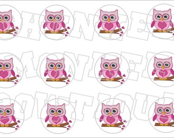 Pink Owl bottlecap image sheet