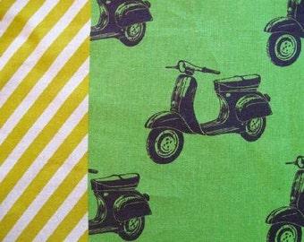 Echino Nico - Scooters Green by Etsuko Furuya from Kokka Fabrics