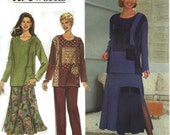 Misses Top, Flared Skirt, Pant Sewing Pattern Simplicity 8246 Sizes 12, 14, 16 Color Block Sewing Supplies UNCUT Pattern