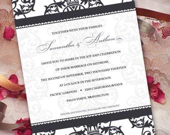 wedding invitations, black and white wedding invitations, black and white formal wedding invitations, black tie event invitations, IN211