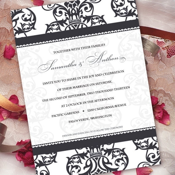 wedding invitations, black and white wedding invitations, black and white formal wedding invitations, black tie event invitations, IN211