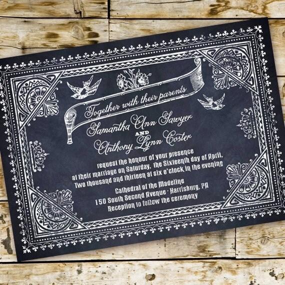 wedding invitations, chalkboard wedding invitation, chalkboard party invitation, chalk bridal shower, chalkboard bachelorette, IN287