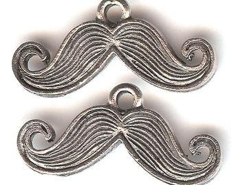 MUSTACHE Charm. Pewter. One Sided. Moustache. Made in the USA. Facial Hair. qst