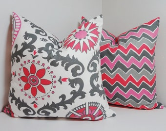 Fushia Pink/Grey Suzani & Zig Zag Print Pillow Covers Throw Pillows 18x18