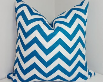 OUTDOOR Teal Blue Zig Zag Pillow Cover Blue Chevron Porch Decorative Pillow 18x18