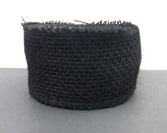 "Black Burlap Ribbon, 2 1/2"" wide, TEN YARDS, Natural 100% Jute - Darice UNWIRED Craft Ribbon Garland"