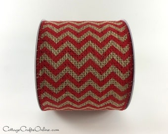 "CLEARANCE!!  Burlap Wired Ribbon, 4"" wide, Chevron Red and Natural - TEN YARD Roll -  Christmas, Wire Edged Chevron Ribbon"