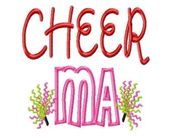 Cheer MA - Pom Poms - Applique - Machine Embroidery Design - 8 sizes
