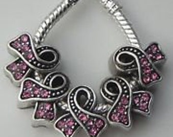Pink Ribbon Rhinestone   Antiqued Silver Spacer Beads Fit  European Style Charm Bracelet