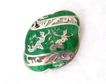 Sterling Silver Niello Brooch green Siam Thailand 925 Excellent