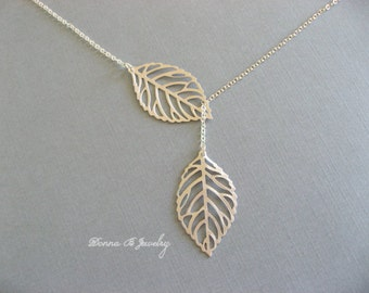 Silver Leaf Necklace, Lariat Leaf Necklace