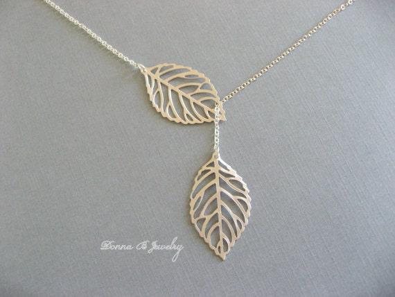 Silver Leaf Necklace, Lariat Leaf Necklace