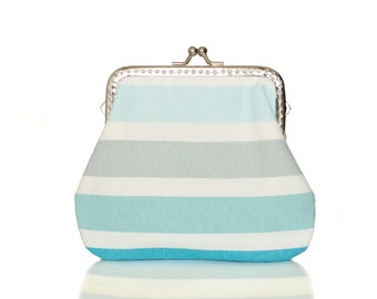 Fabric Coin Purse - Framed Clutch Purse - Pastel Stripes - Silver Frame - Large Blue coin Purse