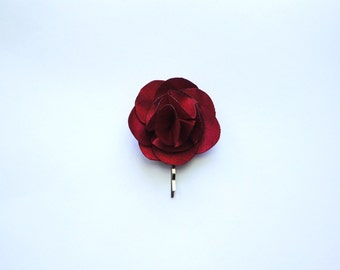 Bridesmaid and Flower Rose Hair Pin- Red Satin Fabric