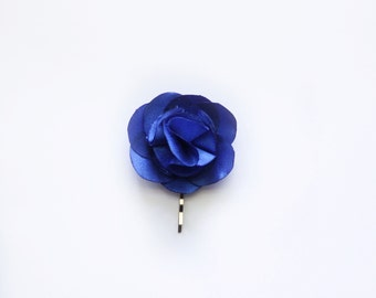 Bridesmaid and Flower Rose Hair Pin- Royal Blue Satin Fabric