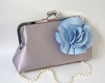 Bridesmaid Clutch Purse- Gray and Baby Blue