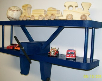 "Airplane Wall Shelf w/Optional Coat Rack Pegs / Birthday Party /  Kids Room  /Extra Large - 24"" Wide X 3.5"" Deep // Aviation"