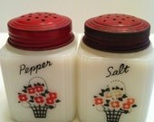 Vintage Milk Glass Salt & Pepper Shakers Decorated by Tipp USA, White with Black and Red Basket of Flowers and Red Lids