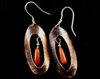 Goldstone and Copper Earrings