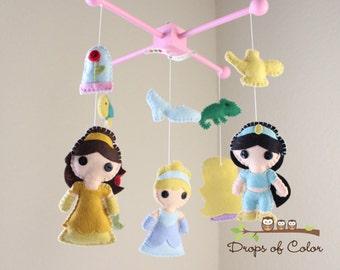 Baby Mobile - Baby Crib Mobile - Princess Mobile - Girl Nursery Room Decor - Disney Princesses (You Can Pick Other Custom Princesses)