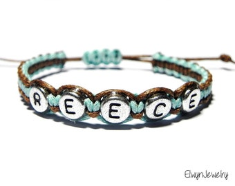 Baby Boy Bracelet, Kid Bracelet, Name Bracelet, Child Bracelet, Personalized Jewelry, Cord Bracelet, Boys Gift, Brown Turquoise, Custom Gift