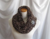 Cowl Chunky Button Bulky Crochet Cowl:  Shades of Brown with a Touch of Fuzzy Boucle and Brown Button