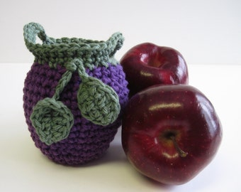 Crochet Apple Cozy Cozies for Fruit  - Grape Purple with Sage Green Leaves
