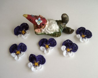 Pansy Crochet Flowers - Purple and White Pansies - Set of 6 Embellishment Appliques