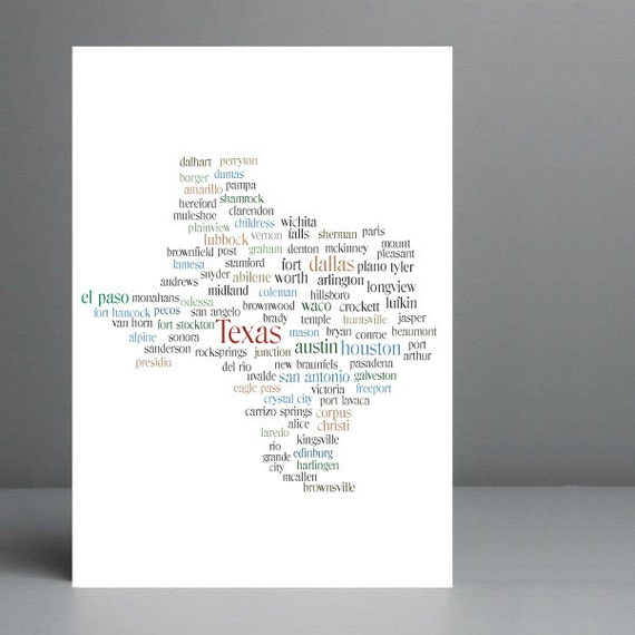 Map of Texas Print - Original Typography Print - 8x10 on A4 Archival Matte Paper