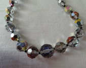 Necklace single strand aurora borealis glass beads iridescent sparkly
