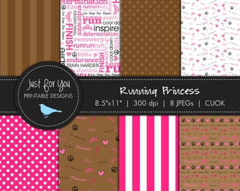 Running Scrapbooking Papers / Backgrounds - Running Princess - Graphic Design - Digital - Commercial and Personal Use