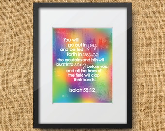 Joyful Scripture Printable Digital Art Print Instant Download // Isaiah 55:12 You will go out in Joy