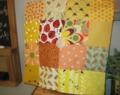 """14"""" x 14"""" PILLOW COVER - 16 Colorful Squares of Happiness Sunny Day Garden Flowers Carrots Bees"""