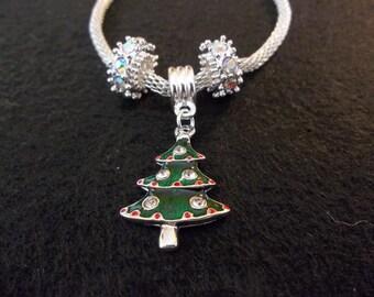 Christmas Tree Bracelet - Silver Jewelry - Charm Bracelet