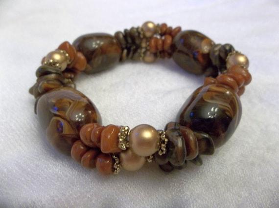 Chunky Beaded Bracelet - Golden Brown Bracelet - Statement Bracelet