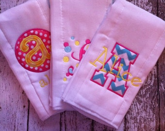 Set of 3 Personalized Burp Cloths - Diaper Cloths - Baby Girl - Monogrammed - Gift Set - Princess Theme