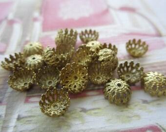 Raw Brass Ornate Beadcaps 8mm U.S. Made 24Pcs.