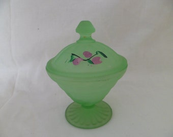 Art Deco Block Optic Frosted Green Depression Glass Powder Jar