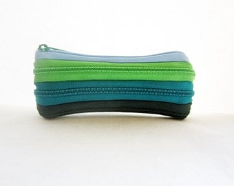 Zipper pencil case, Blue green pouch, Small zipper pouch, Small pencil case, Back to school pencil case, Cute zipper pouch, Cute pencil case