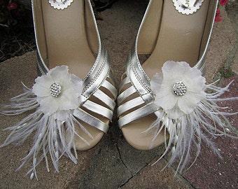 Set of 2 Bridal Shoe Clips Ivory - Sasha - Rhinestone Ostrich Feathers Beads Spray