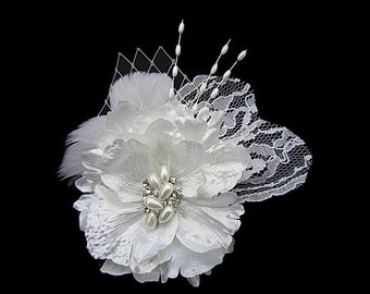 Whitney - Bridal Diamond White Flower Fascinator Hair Clip With Pearl Rhinestone Lace Pearl Spray