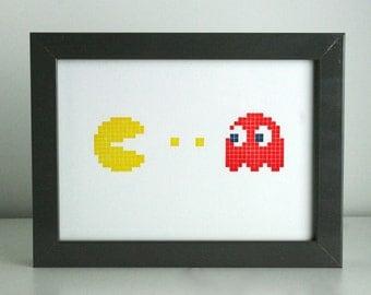 Pac-Man Letterpress Print - Pac-Man and Blinky - 5 x 7