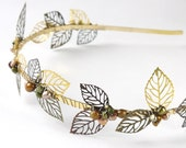 autumn leaves pearl tiara- freshwater pearl, filigree leaves gold wedding headband headpiece