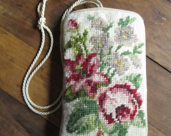 Jewelry Travel Bag Phone Pouch Camera Case boho evening bag vintage needlework wool needlepoint  red rose floral flowers cream taupe natural