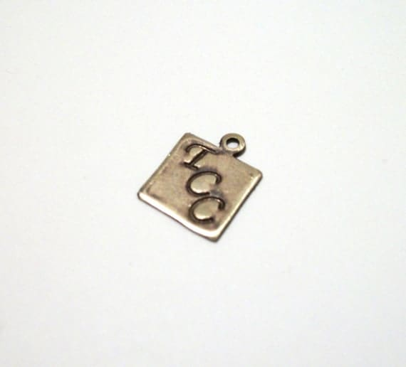 Personalized Metal Jewelry Tag - Rustic Solid Antiqued Square Brass