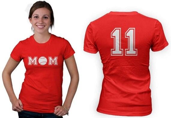 Personalized baseball mom women shirt front and back for Custom baseball shirts no minimum