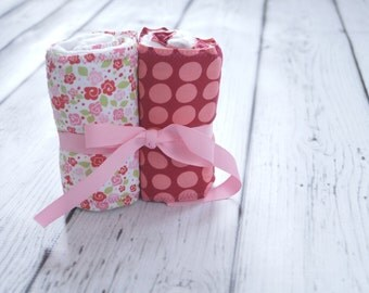 Set of 2 Burp Cloths:  Pop Sugar Flowers and Red/Pink Polka Dots