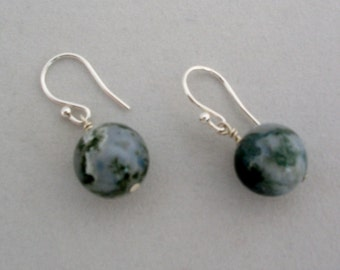 Moss Agate and Silver Earrings