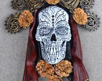 """Dia de los Muertos Wall Plaque, 12"""" Painted"""